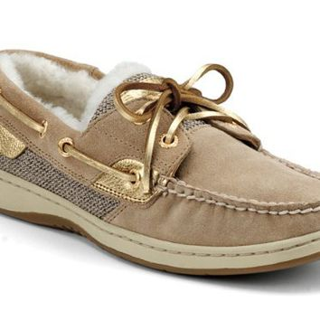 Sperry Top-Sider Womens Bluefish 2-Eye Sand Suede-Gold Shearling Casual Shoes