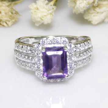 Halo 925 Sterling Silver 6x8mm Baguette Cut Purple Amethyst Women's Engagement Ring Anniversary Gemstone Bridal Ring