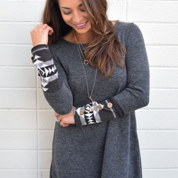Cabin Cozy Charcoal Sweater Dress