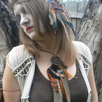 necklace earthtone feather dreamcatcher necklace statement necklace in native american inspired tribal boho belly dancer and hipster style