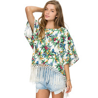Green Floral Print Bat Sleeve Fringed Top