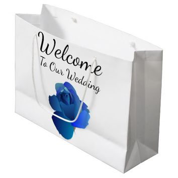 Blue Rose Welcome To Our Wedding Guest Favor Bag
