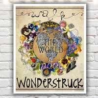 Wonderstruck, mixed media collage art, wanderlust art, typographic print, travel art, travel quotes, travel art, fine art print