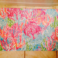 "Small Lilly Pulitzer Inspired ""Let's Cha Cha"" Bath Mat -- Velvety Soft Memory Foam Mat in Lilly!!"