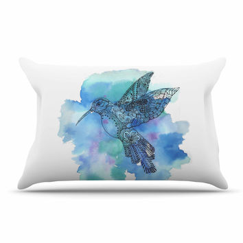 "Sonal Nathwani ""Hummingbird"" Blue Watercolor Pillow Sham"