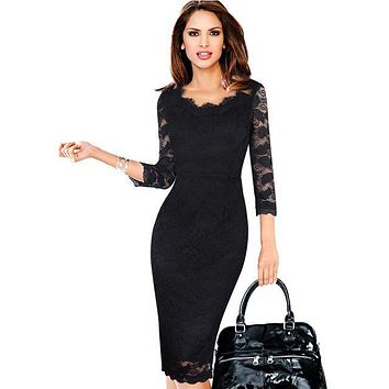 Womens Elegant Lace See Through 3/4 Sleeve Slim Casual Party Evening Vestidos Special Occasion Pencil Sheath Bodycon Dress 269