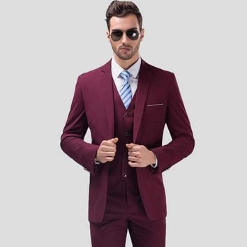 Mens Slim Fit A Three-Piece Suits
