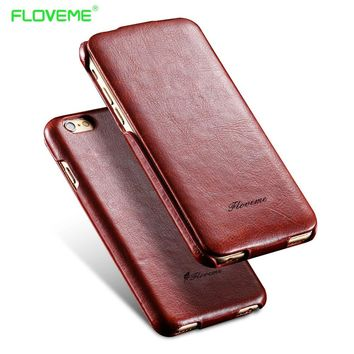 FLOVEME For iPhone 7 6 6S Plus Vertical Flip Leather Case For Apple iPhone 6 7 6S Plus Coque Smooth Skin with Logo Vintage Cover