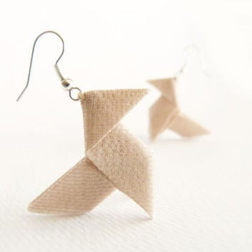 Nude origami earrings Lurex and silk OOAK by Jye, Hand-made in France