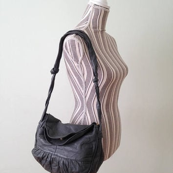 Grey Leather Hobo Bag, Soft Leather Bag, 80s Slouchy Purse, Crossbody Bag, Shoulder Purse, Messenger Bag, Distressed Leather Foldover Bag