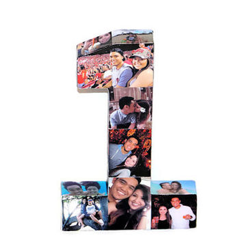 "Baby's First Birthday Number 1 One 1st Wedding Anniversary Paper Gift 12"" Photo Letter Number Picture Collage 360' 3D Rare photo frame"