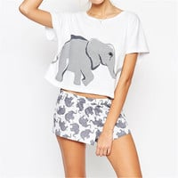 Kawaii Elephant Print Crop Top 2016 New Summer Fashion Loose Cute White Cropped T Shirt Women Casual Plus Size Tee Shirt Femme