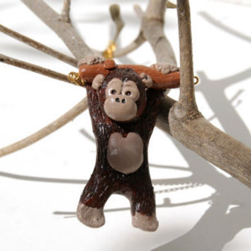Monkey on a branch, cute polymer clay handmade necklace