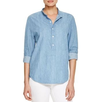 3x1 Womens Mandarin Collar Chambray Henley Top