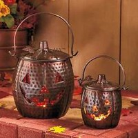Set of 2 Metal Pumpkin Lanterns Rustic Hammered Distressed Look Fall Home Decor
