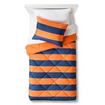 Rugby Stripe Comforter Set (Full/Queen) Orange/Navy 3pc - Pillowfort™ : Target