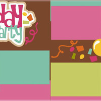 NEW!! Birthday Party Girl Customizable Premade 2-page 12 X 12 Scrapbooking Page Layout