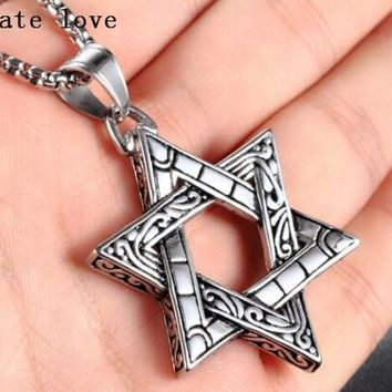 Fate Love Vintage Jewelry for men's Biker Stainless Steel Fashion David Star Necklace Pendant with rolo Chain 24''