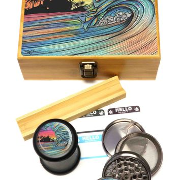 """BRAND NEW ITEM! - Throwing Wave - Stash Box Combo - VERY LARGE SIZE - 4 Part Herb Grinder - 2.5"""", Black UV Glass Jar, Rolling Tray, and Labels"""