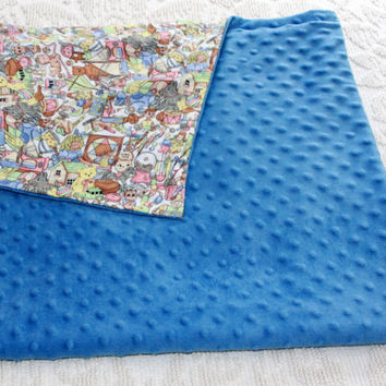 Baby Blanket - Blue Minky and Soft Cotton Flannel