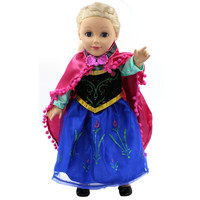 "Handmad 18 inch American Girl Doll Clothes Princess Anna Elsa Dress Fits 18"" American Girl Doll 5 Style Options D-6"