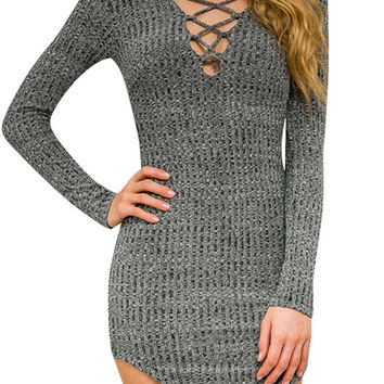 Grey Lace-up Front Knit Bodycon Dress