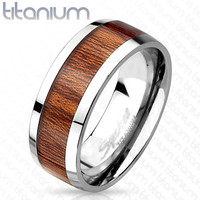 8mm Wood Print Inlayed Titanium Band Men's Ring