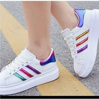 "Summer11""Adidas"" Fashion Shell-toe Flats Sneakers Sport Shoes White rainbow laser"