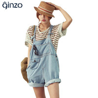 Women's cute denim overalls Korean style casual jumpsuits Loose pocket jeans shorts Free shipping