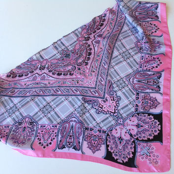 Pastel Pink Paisley scarf, Gift for Boss, Chemo Cover up, Bulk buy Gift, Printed Scarf, Chemo Scarf Gift Coworker Neckerchief