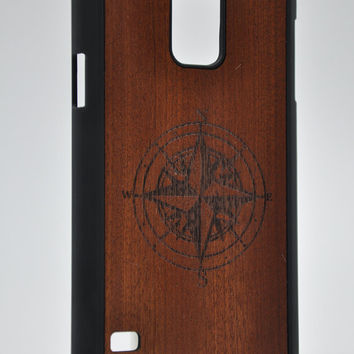 Compass from Mahogany  - Samsung Galaxy S5 Wood Cover - Unique wood case -FREE WORLDWIDE SHIPPING!Handmade in Europe!
