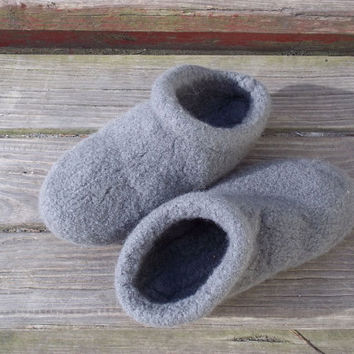 Felted Slippers Clogs Knit Gray