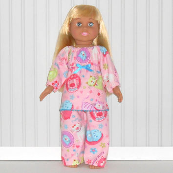 Pink Flannel Pajamas with Kittens Peasant Top Sleepwear American Doll Clothes