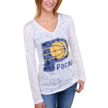 Indiana Pacers Women's Sublime Burnout V-Neck Long Sleeve T-Shirt – White