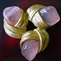 SWOBODA Rose Quartz Brooch, Abstract Modern, Gold Plate, Signed Vintage