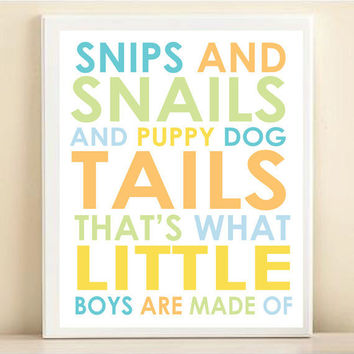 "Nursery Art Print Baby Typography: ""Snips and Snails, Puppy Dog Tails - What Little Boys Are Made Of"" 8x10"