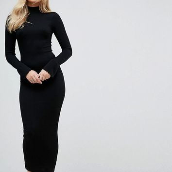 ASOS TALL City Maxi Rib Bodycon Dress with Polo Neck and Frill Cuffs at asos.com