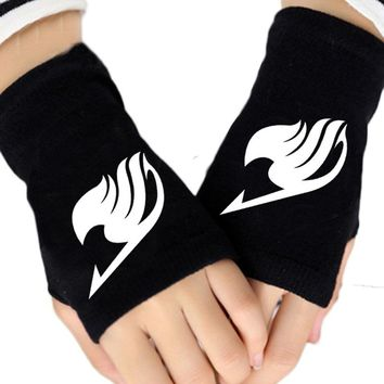 2017 Anime Fairy Tail Guild Logo Gloves Fingerless Cotton Print Winter Warm Black Glove Unisex Mitten Cosplay Gift