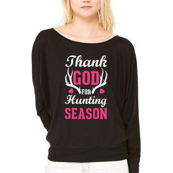 Thank God For Hunting Season WOMEN'S FLOWY LONG SLEEVE OFF SHOULDER TEE