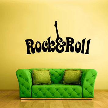 Wall Vinyl Sticker Decals Decor Art Bedroom Design Mural Rock n Roll Guitar Words Quote Sign (z1879)