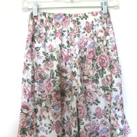 Pink White Floral Shorts 90s Summer Small