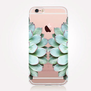 Transparent Succulent iPhone Case - Transparent Case - Clear Case - Transparent iPhone 6 - Gel Case - Soft TPU Case - Samsung S7