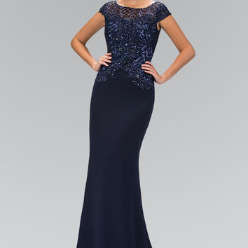 Navy Cap Sleeve Dress Accented with Sequin and Bead GL1369