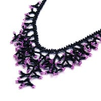 Purple Black Necklace. Beadwork. Wedding Necklace
