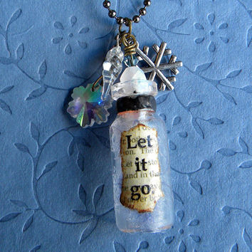 Let IT GO Necklace -Frozen Ice Necklace- Ice Queen Necklace - Snow Flake and Icicle Necklace -