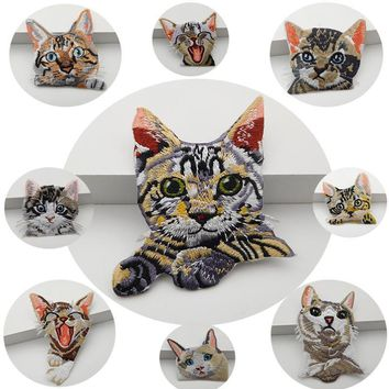 Trendy 2PCS Pocket cat embroidery lace patch Down jacket denim clothes Shirt creative patch DIY decorative embroidery RS1395 AT_94_13