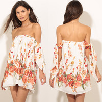 Fashion Flower Print Off Shoulder Strapless Strappy Mini Dress