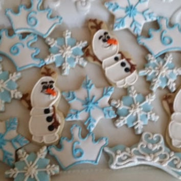 Frozen theme cookies -Olaf