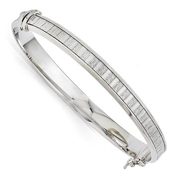 7mm Sterling Silver Glitter Inlay Hinged Bangle Bracelet