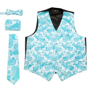 Ferrecci Mens Turquoise Paisley Wedding Prom Grad Choir Band 4pc Vest Set